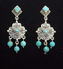 END OF LINE. STERLING SILVER DROP EARRING WITH TURQUOISE AND MARCASITE