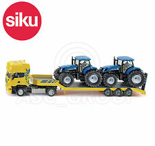 SIKU #1984 1:50 SCANIA TRUCK LOW LOADER & 2 NEW HOLLAND TRACTORS Model / Toy