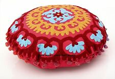 """16"""" RED EMBROIDERED DECORATIVE ROUND SOFA PILLOW CUSHION COVER Boho Indian Decor"""