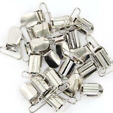 20 Pcs Metal Holder Insert Pacifier Silver Tone Suspender Clips Mitten 1""