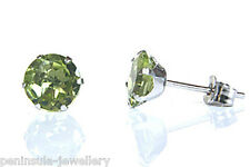 9ct White Gold Peridot Stud earrings Made in UK Gift Boxed