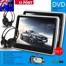 "10.1"" Twin HD Digital Touch Screen Thin Car Headrest DVD USB SD Player Game AU"