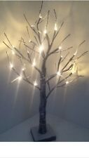 2ft Snowy Effect Twig Tree/Pre-lit/24 LED Warm White Christmas Lights/Decoration
