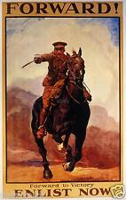 "British Army Cavalry 1915 Poster Forward Enlist Now World War 1 Poster 12x8"" T"