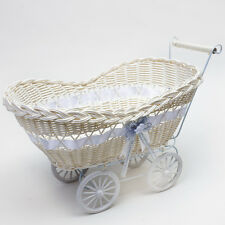 LARGE WICKER HAMPER PRAM BASKET WITH PALE LILAC RIBBON GIFT BABY SHOWER