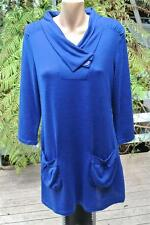 CROSSROADS Electric Blue Long TUNIC Top w Pockets Size 14-M. NEW w Tags 3/4 Slve