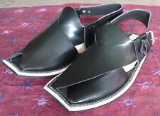 Mens Pakistani Handmade Leather Peshawari Chappal Black Buckled Eid Sandal