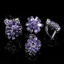 Silver 925 Genuine Natural Amethyst Pendant, Earring & Ring Set Sz O (US 7.25)