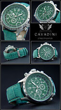 LUXURY CHRONOGRAPH CAVADINI WATCH TACHYMETER SWIVELLING RING IN GREEN NEW