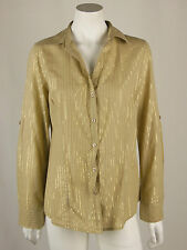 Michael by Michael Kors Beige & Gold Button Down Shirt Blouse Top Size 10