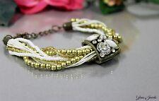Glass Jewels Bronze Armband Perlen Vintage Statement Weiß Bronze Gold #O005