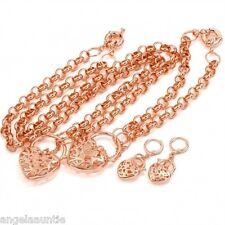 18K Rose Gold Filled Filigree Heart Necklace/Bracelet/Earrings Set (S-158E)