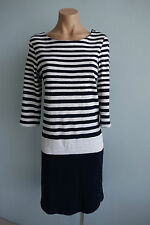 Sportscraft 3/4 Sleeve Navy & White Striped & Solid Sailor / Marine Dress sz 10