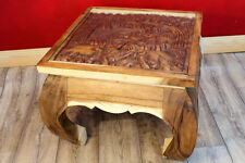 Opiumtisch Elefant geschnitzt Akazie Massivholz Couchtisch Sofatisch Wohnzimmer