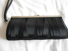 """NEW LOOK"" GORGEOUS BLACK SATIN EVENING BAG & WRIST STRAP!!!"