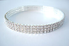 Three Row Ladies Stretchy Clear Diamante Ankle Bracelet Rhinestone Anklet