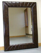 "Leyland Large Vintage Brown Leather Rectangle Wall Mirror 46"" x 34"""