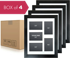 Box 4 Black Multi Photo Frame - Collage Frame for 5 Photos + White Mat Board