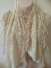 Cream Ivory Ladies Embroidery Lace Scarf Shawl Warm Women Winter Headcover Wrap