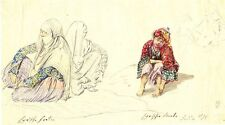 Theodor Horschelt, Syrische Frauen & Bursche, Bleistift/aquarelliert, um 1853