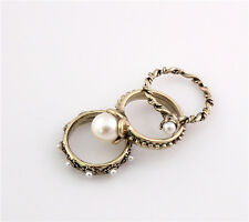 Nice New Beautiful Charming Vintage Bronze Plated Metal 3 pieces Finger Rings