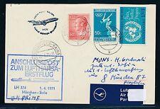 95449) LH FF München - Sofia Bulgarien 1.4.71, Karte ab Luxemburg