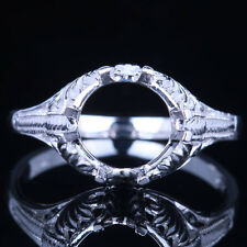 Vintage Antique Engagement Wedding Ring Sterling Silver 925 Round Cut Semi Mount