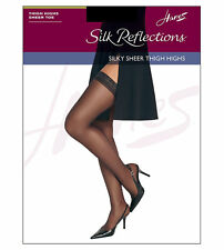 Hanes Silk Reflections Sandalfoot White Thigh-High Stockings Size CD