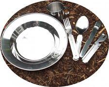 Camping Set Geschirrset Edelstahl Teller mit Tasse und Besteck Festivalset