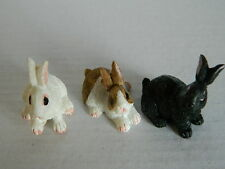 (G5.7) DOLLS HOUSE RESIN SET OF THREE ASSORTED RABBITS