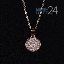 Damen Halskette echt 925 Sterling Silber Zirkonia Collier Rosegold Rund Glitzer
