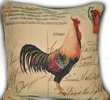 """1 PC 18"""" Vintage Love French Rooster Sofa Bed Throw Pillow Cushion Cover Case"""