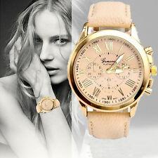 Fashion Women's Geneva Analog Quartz Roman Numerals Leather Band Wristwatches