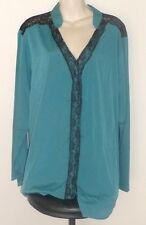 blouse shirt top plus size 22 long sleeve teal and black lace NEW button down