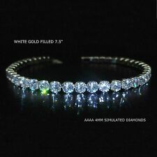 White gold filled AAAA simulated diamond tennis bracelet, GIFT BOXED  / UK