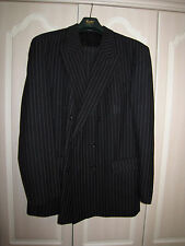 Tailored suit: Black Pin Stripe The Label with trouser turn ups