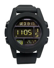 Nixon A197000 Unit Black Digital Chronograph Dial Silicone Rubber Men Watch New