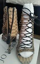 ♡♡♡ RRP $199 New JO MERCER snake skin LEATHER Heels SLIPPER Shoes Sandals 38 Or