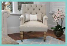 *HALF PRICE!* NEW French Provincial Hamptons Style Beige Linen Buttoned Armchair