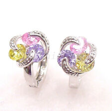 Women New Pink Lilac Ball CZ zirconia White Gold Plated Birthday Hoops Earrings