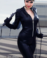 """Catsuit Costume Faux Leather / Faux PVC Cosplay zip up 29"""" leg size 8-12 Qualit"""
