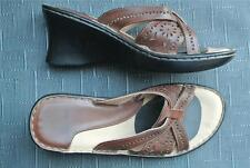 GROSBY Comfort Slip-on Brown SANDALS Size 7 LEATHER gr8 As New Condition