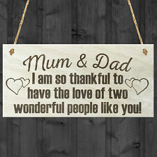 Mum and Dad Thank You Wooden Hanging Plaque Gift Shabby Chic Parents Love Sign