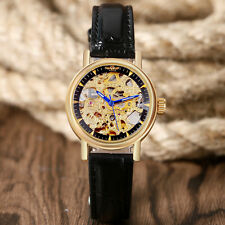 WINNER Skeleton Dial Wrist Watch Trendy Women Mechanical Automatic Leather Band