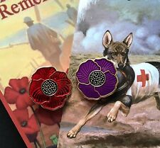 The Purple Poppy  & Red Poppy Lapel Pins *Remembrance Day. Set 2