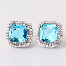 HOT Unique 18k white gold filled princess Swarovski aquamarine stud earring