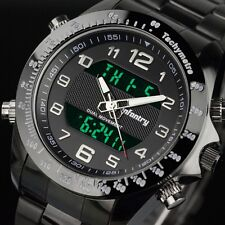 INFANTRY Mens Digital Quartz Wrist Watch Date Alarm Army Black Stainless Steel