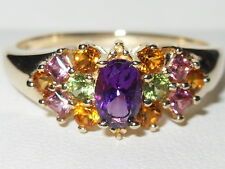 BEAUTIFUL 14CT YELLOW GOLD VIBRANT MULTI COLOURED GEMSTONE CLUSTER RING
