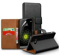 Genuine Real Leather Wallet stand case for LG K8 & Screen Guard