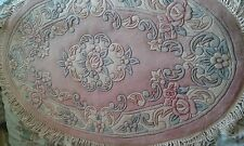 "Brand NEW 100% Wool Chinese Rug Carpet Pale Pink Oval, 4 'x 2'6"", Roses Floral"